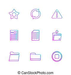 archief, zoeken, code, set, iconen, eps, vector, adresboek, map