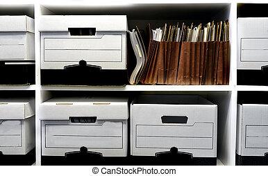 archiefdozen, op, plank