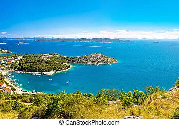 archipel, sommer, adria, luftblick