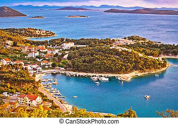 archipel, von, dalmatien, luftblick