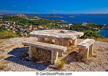 archipel, von, kroatien, hügel, standpunkt