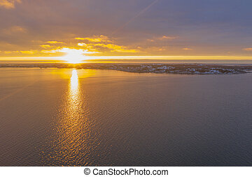 Archipelago in sunset in winter