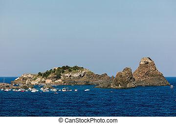 archipiélago,  aci, cíclope,  trezza, bahía