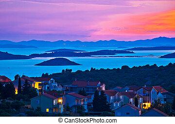 archipiélago, isla, murter, puesta de sol