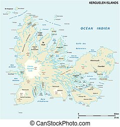 archipiélago, mapa, francés, kerguelen