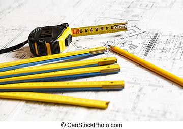 architecht, planos, y, herramientas, encima