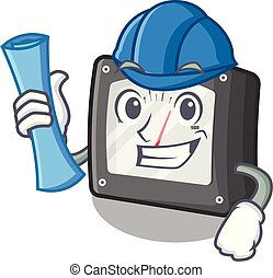 Architect ampere meter in the cartoon shape vector illustration