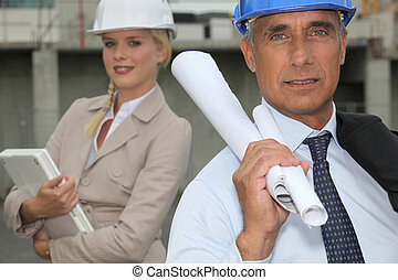 Architect and female assistant
