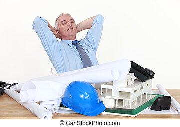 Architect asleep on the job