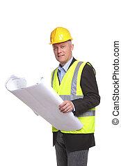 architect, bouwterrein, werkjes