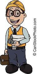 Architect boy cartoon illustration design