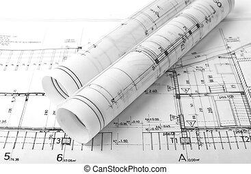 architect, broodjes, en, plannen