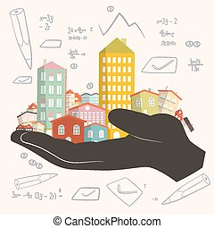 Architect Building Project - Development Vector Illustration - Paper Houses in Human Hand