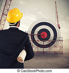Architect builds a business target . Mixed media
