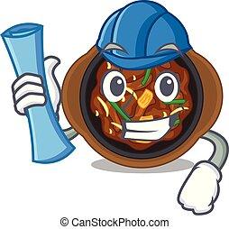 Architect bulgogi in a the bowl cartoon