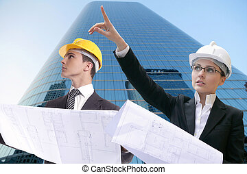 Architect businessman businesswoman, hard hat - Architect...