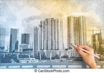 Architect businessman drawing a sketch of a modern home