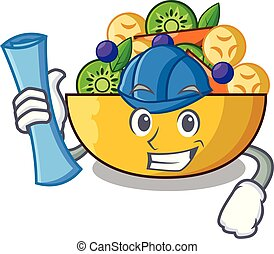 Architect cartoon bowl healthy fresh fruit salad