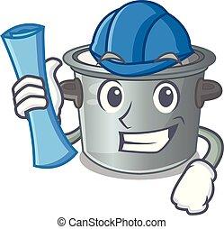 Architect cartoon cookware stock pot in kitchen vector...