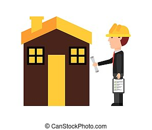 Architect cartoon icon. Work in Progress design. Vector graphic