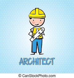 architect cartoon over blue background. vector illustration