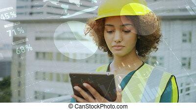 Architect checking her tablet 4k