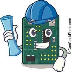 Architect circuit board pcb in cartoon shape vector...
