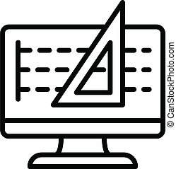 Architect computer drawing icon, outline style