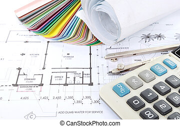 architect concept of design and project drawings