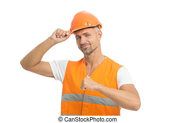 Architect control. Everything is under control. Safety concept. Man wear protective hard hat and uniform. Cheerful builder. Protective equipment concept. Handsome builder. Inspector control