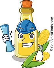 Architect corn oil put into cartoon bottle