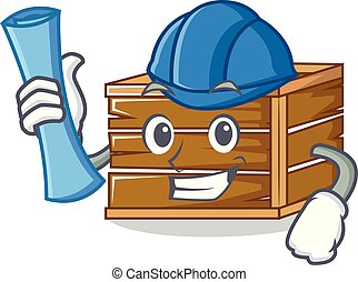 Architect crate character cartoon style