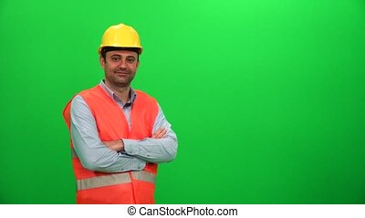 Architect Crossing His Arms on Green Screen
