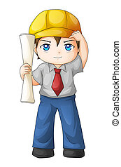 Architect - Cute cartoon illustration of an architect