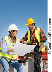 architect, de arbeider van de bouw