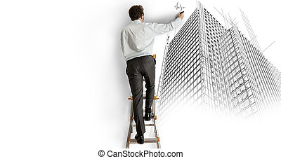 Architect drawing a project - Architect draws a project on a...