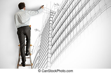 Architect drawing a project