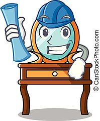 Architect dressing table character cartoon