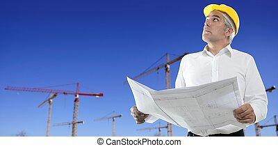 architect engineer plan construction cranes blue sky