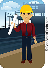 Vector illustration of an architect, engineer standing in front of a construction site.