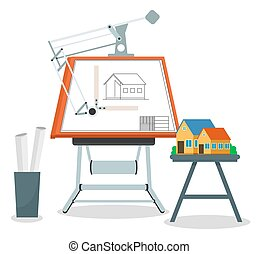 Architect engineer workplace with culman with a drawing of a building and a family house model