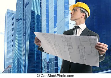 Architect executive businessman with plan