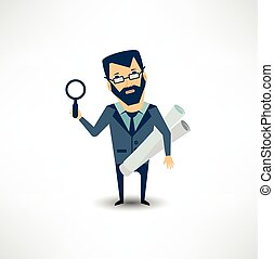 architect expert looking through a magnifying glass