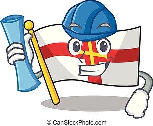 Architect flag guernsey with the cartoon shape vector illustration