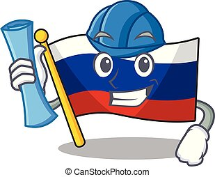 Architect flag russian stored in cartoon cupboard