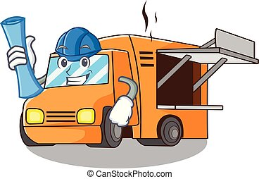 Architect Food Truck with Isolated on mascot