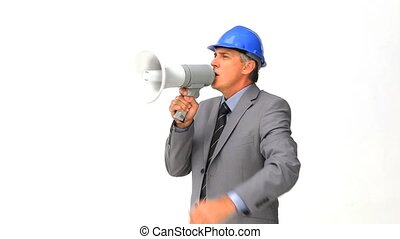 Architect giving orders through a megaphone isolated on a...