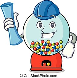 Architect gumball machine character cartoon