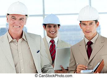 architect, het glimlachen, fototoestel, groep