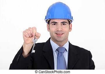 Architect holding key